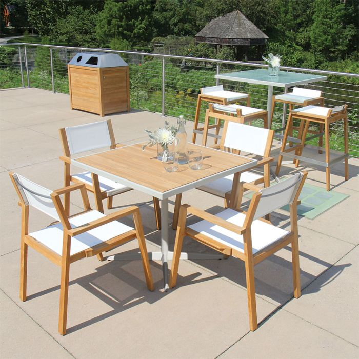 Outdoor Cafe Table Ethos 36 In Square Teak Top Table