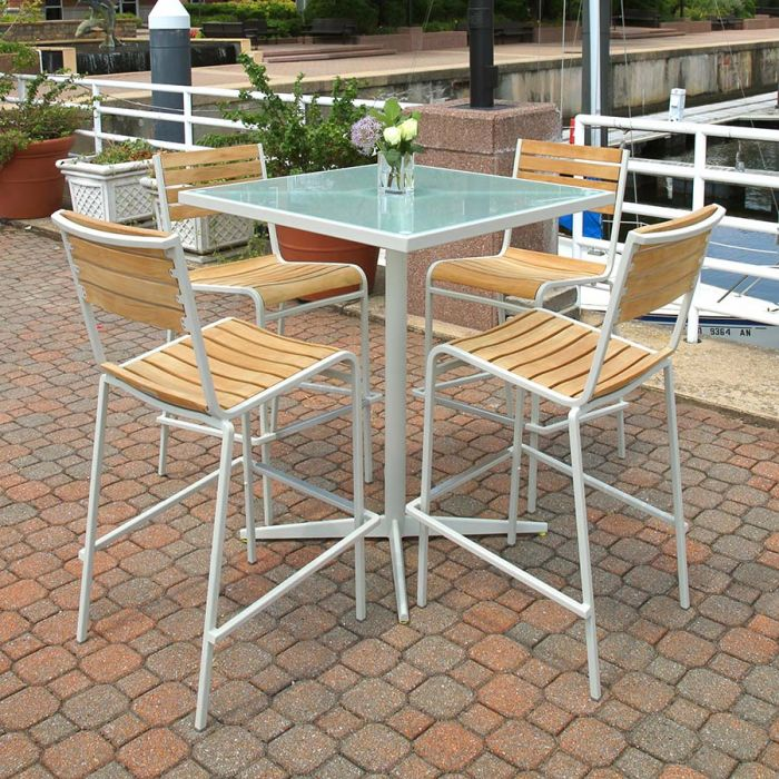 Ethos 36 In Square Glass Top Bar Table, Outdoor Glass Top Bar Table