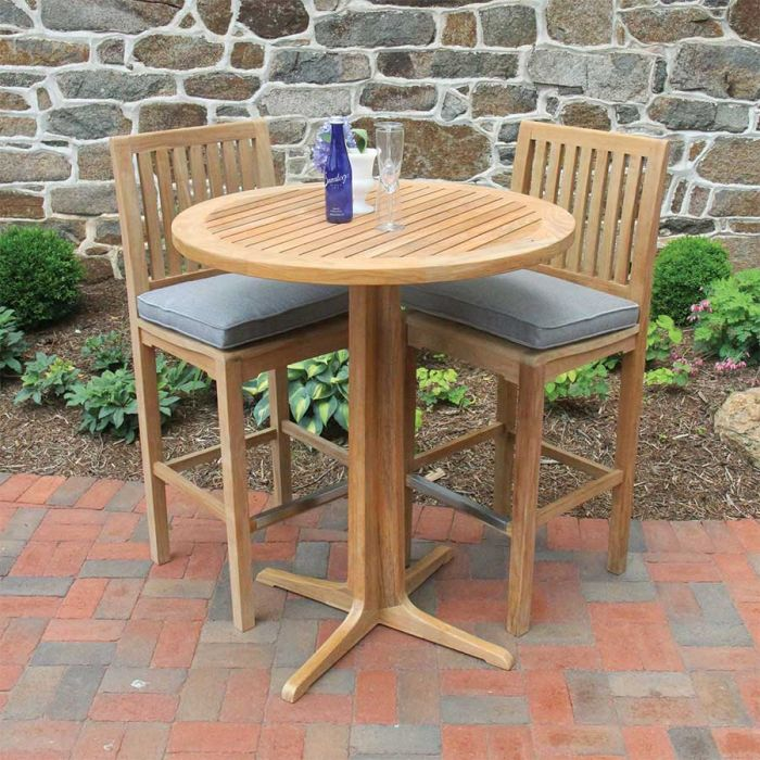 Foxhall Round Teak Bar Table Country, Round Wood Bar Table