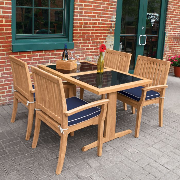 Teak Dining Tables Foxhall Rectangular Table W Granite Top Country Casual