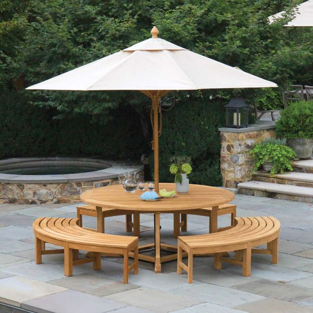 Teak Picnic Tables Minton 6ft Round, Lifetime Round Picnic Table