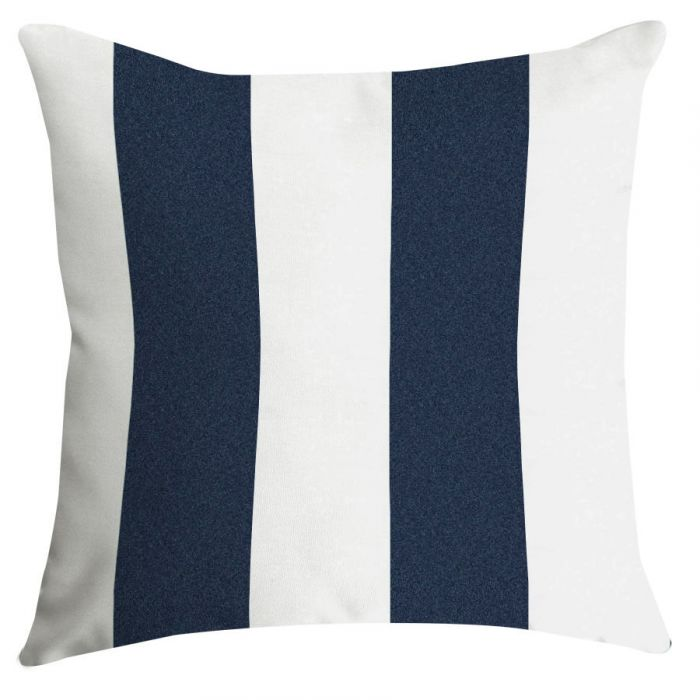 Navy And White Striped Outdoor Pillows