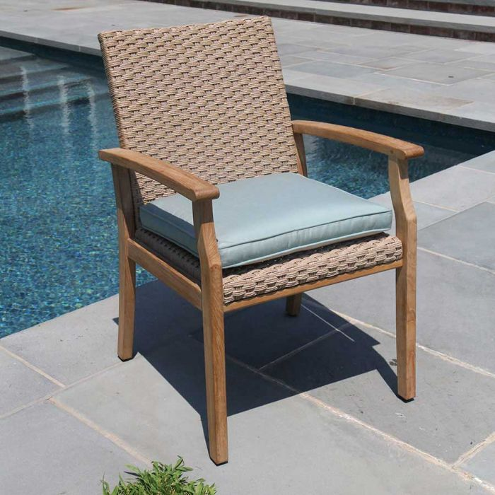 Teak Patio Dining Chairs Sawgrass Teak And Wicker Dining Armchair