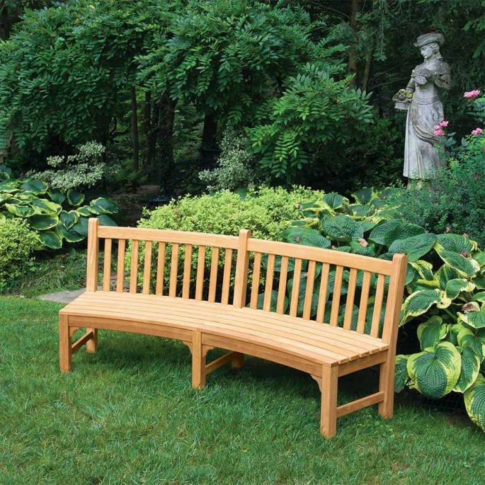 Windermere Curved Garden Bench Country Casual Teak Armless Benches