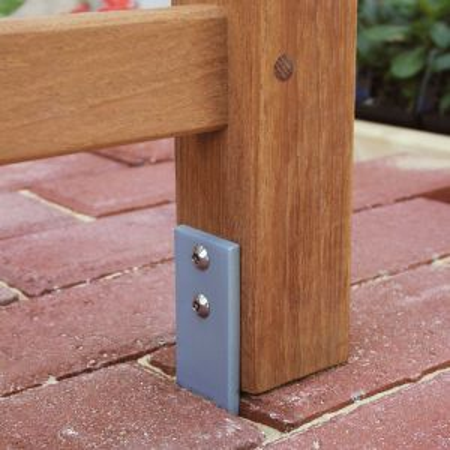 Garden bench anchors - Below-grade steel anchoring bracket kit