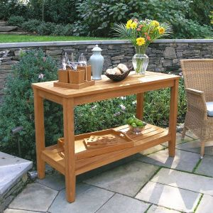 Berwick teak console table with Cucina napkin caddy.