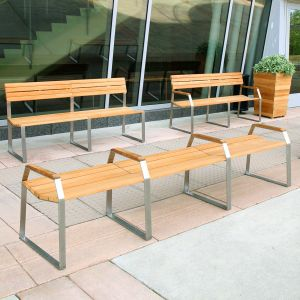 modular outdoor bench - Bond 9 ft backless teak bench with arms