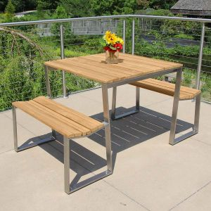 Bond teak square picnic table with attached benches