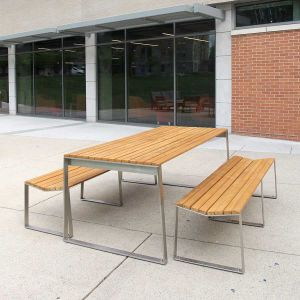 modular dining bench - Bond 6 ft. backless benches with Bond teak dining table