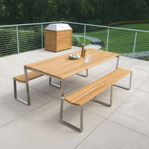 Teak and metal outdoor furniture - Bond picnic table