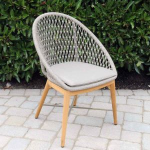 Modern outdoor dining chairs - Cabo dining chair with taupe cushion