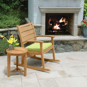 Calypso modern outdoor rocking chair with Berwick round teak side table