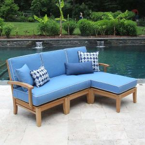 Calypso teak wood outdoor sectional right chaise set with cushions