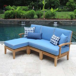 Calypso teak wood sectional left-arm chaise set with cushions