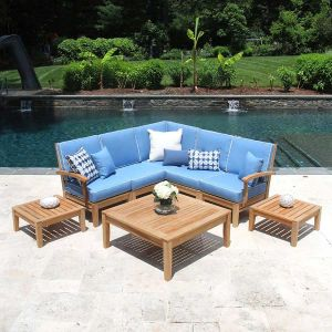 Calypso teak outdoor sectional 5 piece set with Capri cushions with Oyster piping and square side and coffee tables.