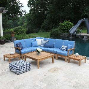 Teak sectional outdoor furniture - Calypso sectional 6 piece set with cushions in Capri