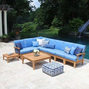 Teak sectional patio furniture - Calypso sectional 7 piece set with cushions in Capri