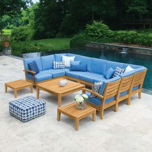 Calypso teak patio sectional 9 piece set with cushions in Capri