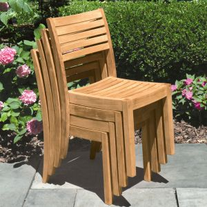 Calypso stacking teak dining chairs