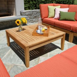 Calypso square teak coffee table with Calypso sectional seating