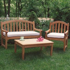 Carlisle 4 foot teak bench and armchair with Oyster cushions and Berwick 36 in. coffee table