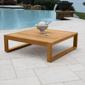 Casita square teak wood side table