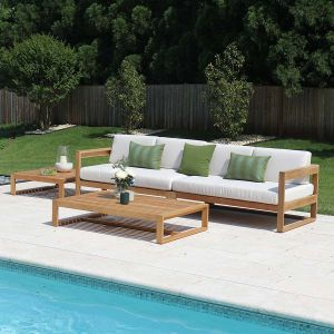 Casita modern teak sofa with Basketweave Oyster cushions and Casita rectangular coffee table and square side table