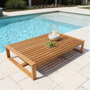 Casita rectangular modern teak coffee table