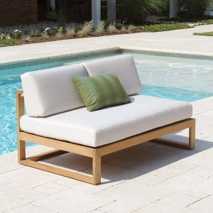 Casita armless loveseat with Basketweave Oyster cushions.