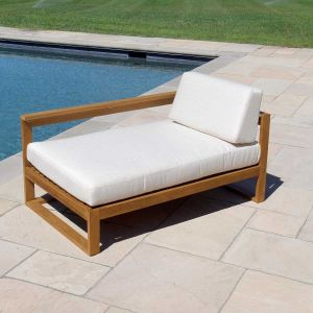 Casita left-arm teak outdoor chaise lounge.