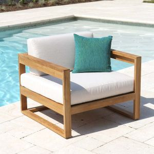 Casita teak lounge chair with Basketweave Oyster cushions