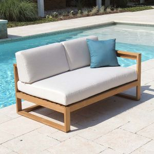 Casita right arm sectional lounge loveseat with Basketweave Oyster cushions.