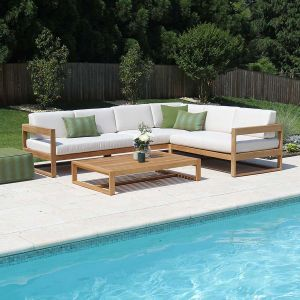 Casita right-L modern teak outdoor sectional set with Basketweave Oyster cushions and rectangular coffee table