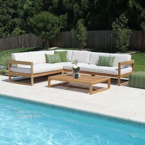 Casita left-L modern teak outdoor sectional set with Basketweave Oyster cushions and rectangular coffee table
