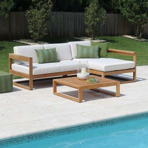 Casita left-chaise set modern teak sectional with Basketweave Oyster cushions