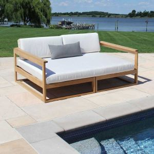 Casita outdoor teak daybed with Oyster cushions