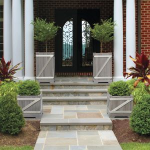 Chateau 22 in. square and 36 in. tall planters, treated with Antiqu Gray Wash.