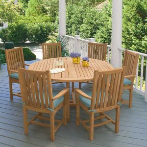 Chelmsford 59 in. round teak dining table.