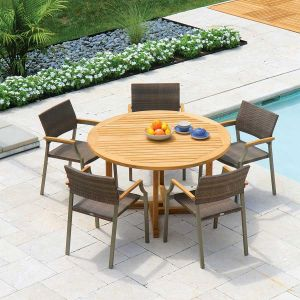 Chelmsford 51 in. teak round dining table with Valencia stacking chairs with Mocha wicker.