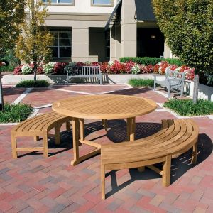 Chelmsford 5 ft. round picnic set - teak picnic table and benches