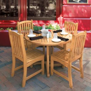 Chelmsford 43 in. round teak patio table with Elgin sidechairs