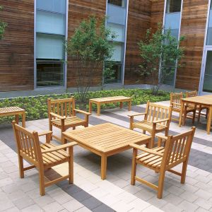 teak patio bench armchairs