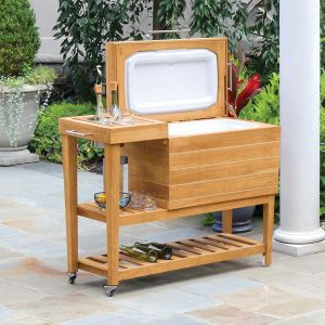 Cucina teak outdoor beverage cooler and drinks stand.