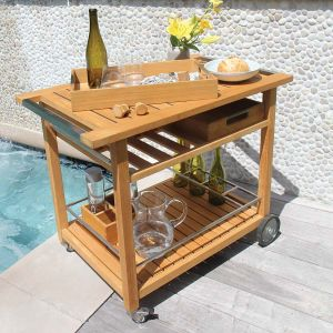 outdoor teak bar cart