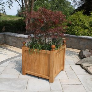 Estate large square planter with commercial-grade fiberglass liner.