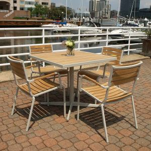 Ethos outdoor cafe table with teak top