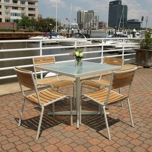 outdoor cafe table set - Ethos glass and teak top tables with Ethos stacking sidechairs