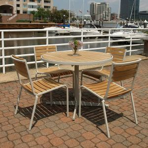 outdoor cafe furniture - Ethos 40 in. round teak top table and stacking chairs