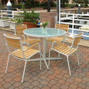 commercial cafe tables - Ethos 40 in. round glass dining table