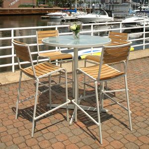 glass cafe table - Ethos 40 in. round glass top bar table